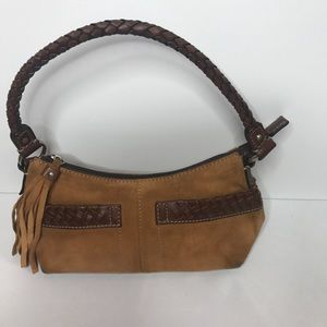 Fossil small suede and leather handbag